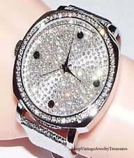 Joan Boyce Oversized Face Silver Tone Leather Strap Crystal Watch Needs Battery