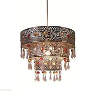 30CM Chrome Luminaire Acrylic 3-Tier Metal Ceiling Pendant Light Shade w/ Gems