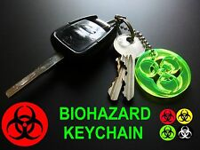 BIOHAZARD UV REACTIVE Key Chain/Keyring/Glow In The Dark/Neon/Rave/Party/RED