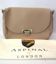 Ladies ASPINAL OF LONDON Beige Genuine Leather Handbag Shoulder Bag VGC - S66