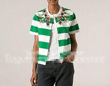 Women Ladies Green Striped Gemstone Short Sleeves Cardigan Blouse 8