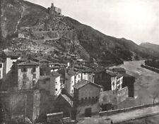 VAR. Entrevaux sur le Var (Basses- alpes)  1900 old antique print picture