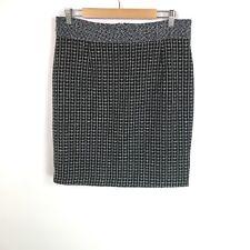 Antonio Melani Women's Pencil Skirt Black White Check Size 12 As Is