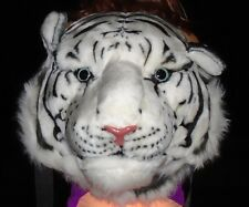 NEW WHITE TIGER HEAD BLACK FAUX FUR 3D REAL LOOKING LARGE BACKPACK,SHOULDER BAG