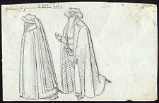 Antique Drawing-GENRE-COSTUME-17TH CENTURY-German School-Anonymous-ca. 1820