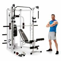 Marcy 5276 Combo Smith Heavy-Duty Total Body Strength Home Gym Machine, White