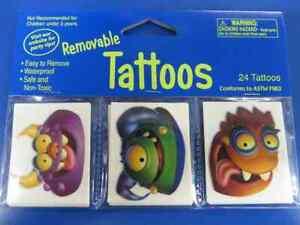 Monster Mania Kids Halloween Carnival Birthday Party Favor Temporary Tattoos