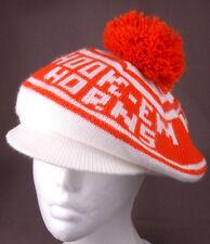Vtg Texas University Tam o Shanter Hat-Hook-Em Horns-Orange-NCAA-Knit-Retro-Cool