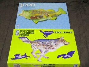 2 FX Schmid 1000 Pc. Shaped Puzzles PACK LEADER (Wolf) Sportsman's Surprise Fish