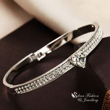 18K White Gold Filled Made With Swarovski Crystal Shiny Silver Heart Bangle