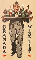 Granada Wine & Liquor List & Menu ~ Waiter Carries Tray With Bottles & Glasses