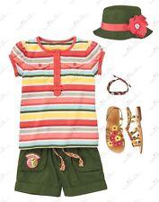 NWT Gymboree Friendship Camp Bucket Sun Hat Olive Green Flower Sz 3-4