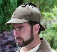 Men's Green Tweed Check Colour Country Sherlock Deerstalker GR99