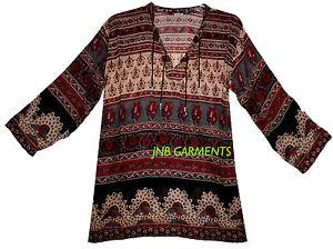 Indian Ethnic Top Ladies Women Uk Shirt Sleeve Neck Long T V Blouse Casual 105