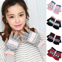 Qu_ Charm Winter Snowflake Flip Top Fingerless Gloves Warm Women Knitted Mittens