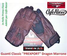 """Guanti per Moto Cafè-Racer """"PREXPORT"""" Dragon in Pelle Brown-Marrone taglia M"""