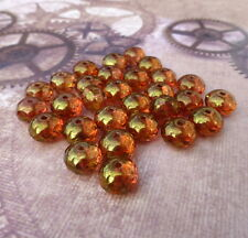 pack of 20 - Czech Glass Beads Faceted Rondelles with Gold Lustre RONCZ-7765