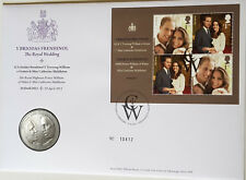2011 UK  5 Pounds William & Kate Royal Wedding Stamp Coin FDC PNC RARE