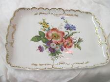 Vintage Germany Dresden Gerold Porzellan Platter Tray Floral Bouquet Gold trim