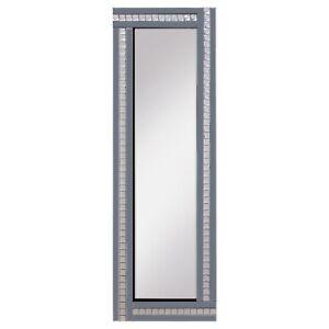 Full Length Art Deco Acrylic Crystal Glass Bevelled Mirror 120x40cm Smoked Grey