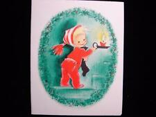 """VINTAGE """"HEADING UP TO BED TO WAIT FOR SANTA!!"""" CHRISTMAS GREETING CARD"""