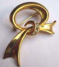 Élégante fine broche bijou vintage couleur or noeud cristaux diamant 3082