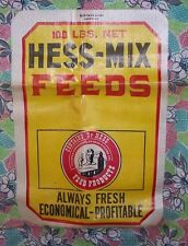ORG COTTON FEED SACK/BAG-PAPER LABEL-DR HESS PRODUCTS-FARM-CHICKENS-NEVER USED