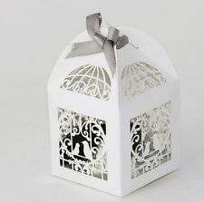 14 x Love Birds Bird Cage Laser Cut White Wedding Favor Bomboniere Candy Box