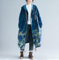 Women's Fashion Printed Hooded Drawstring Loose Jacket Coat Parka Ourwear SKGB
