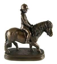 BRONZED PONY & GIRL RIDER Statue Sculpture Figurine Trophey Home Decor - NEW