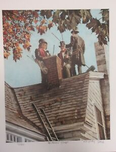 """RICHARD JAMES DOYLE  """"THE CHIMNEY SWEEPS""""  LITHOGRAPH(TWIG PAINTER) HAND SIGNED"""