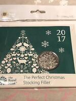 2017 Royal Mint Christmas Tree BU £5 Five Pound Coin In Presentation Pack