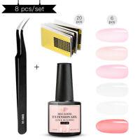 8X/set MEET ACROSS 7ml Clear Nail Quick Builder UV Gel Tips Extension Manicure