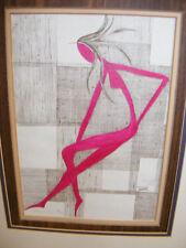 DICK HUTTON Artist 1975 L/E S/N Litho Mid Century Art Deco Artwork LADY NUDE