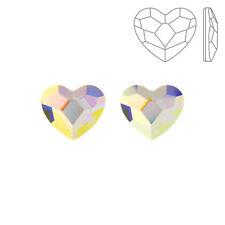 Swarovski Crystal Hotfix 2808 Flat Backs Heart Crystal AB 10mm Pack of 3 (K72/7)
