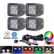 "4x 3Inch 5D RGB LED Work Light Bar 3X3"" Spot Pods & Bluetooth Controller Wiring"