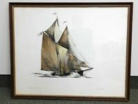 James Archibald Mitchell Watercolor and Ink Fishing Boat Painting Schooner Art