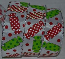Wired Ribbon~Christmas Taffy Candy~Holiday Red Dot~Green~Silver~Wreath~Gift~Bow