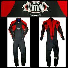 PRO MOTION TRIATHLON Black Red Full Body Neoprene Nylon Wetsuit Zip Stretch Sz M