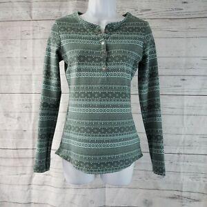 Columbia Womens Shirt Sz Medium Green Striped Long Sleeve