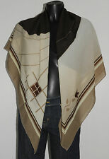 Etole écharpe foulard vert et marron 115 x 115 BIREL Bon état