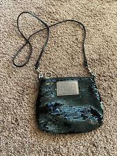 Coach Poppy BLACK Sequin Crossbody Bag Swingpack NEW