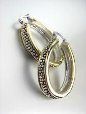 NEW CLASSIC Designer Style Balinese Silver Dots Texture Gold Oval Hoop Earrings