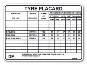 TYRE PLACARD LH TORANA  5 LITRE EXC L34 ENG.