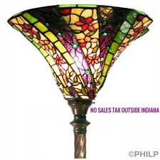 Tiffany Style Reading Floor Lamp Torchiere Purple Green Stained Glass Shade 72""