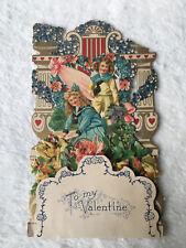 Vintage Antique Die Cut Fold Down German Two Girls Valentine Card