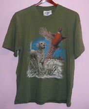 Vintage 90s Labrador Retriever Pheasant Hunting T Shirt Green L