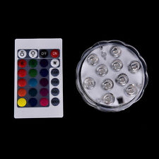 10 led submersible light battery waterproof remote control pool pond lighting6Tc