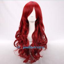 Long Wavy Dark Red Heat Resistant Anime Cosplay Wig+a wig cap