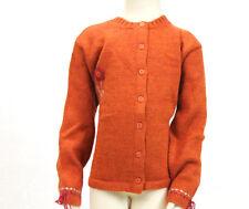 JACADI Girl's Race Orange Button Down Embellished Cardigan Sz 12 Years NWT $92